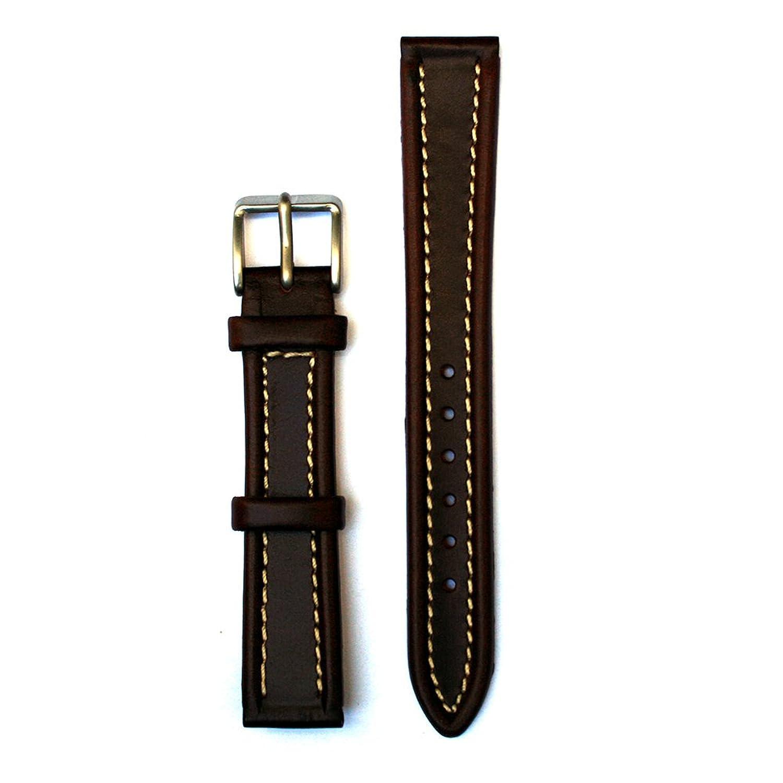 レザーエッジパッド入り16ミリメートルブラウンW / White Stitches腕時計ストラップ B00ZGJV23E