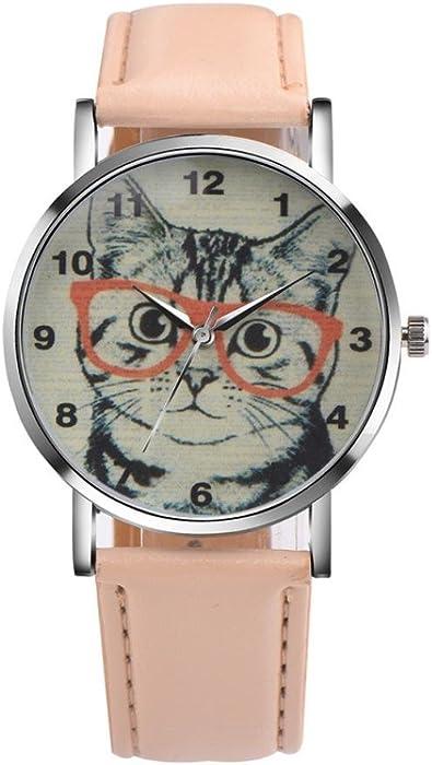 612e5a7eb02828 Tonsee レディース腕時計 PUレザー アナログ表示 可愛い 猫 パターン おしゃれ ウォッチ 女性用 (ベージュ
