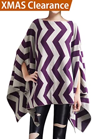 282e3024e9c9 DELUXSEY Wool Blend Chevron Double-Layer Knit Poncho Womens Pullover  Sweaters at Amazon Women s Clothing store