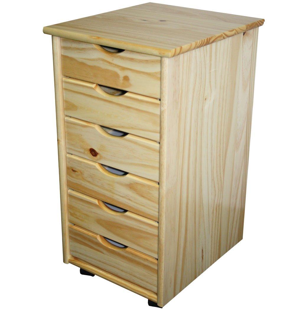 KMH in legno di pino massiccio superficie naturale #201124 con 6 cassetti cassettiera con rotelle