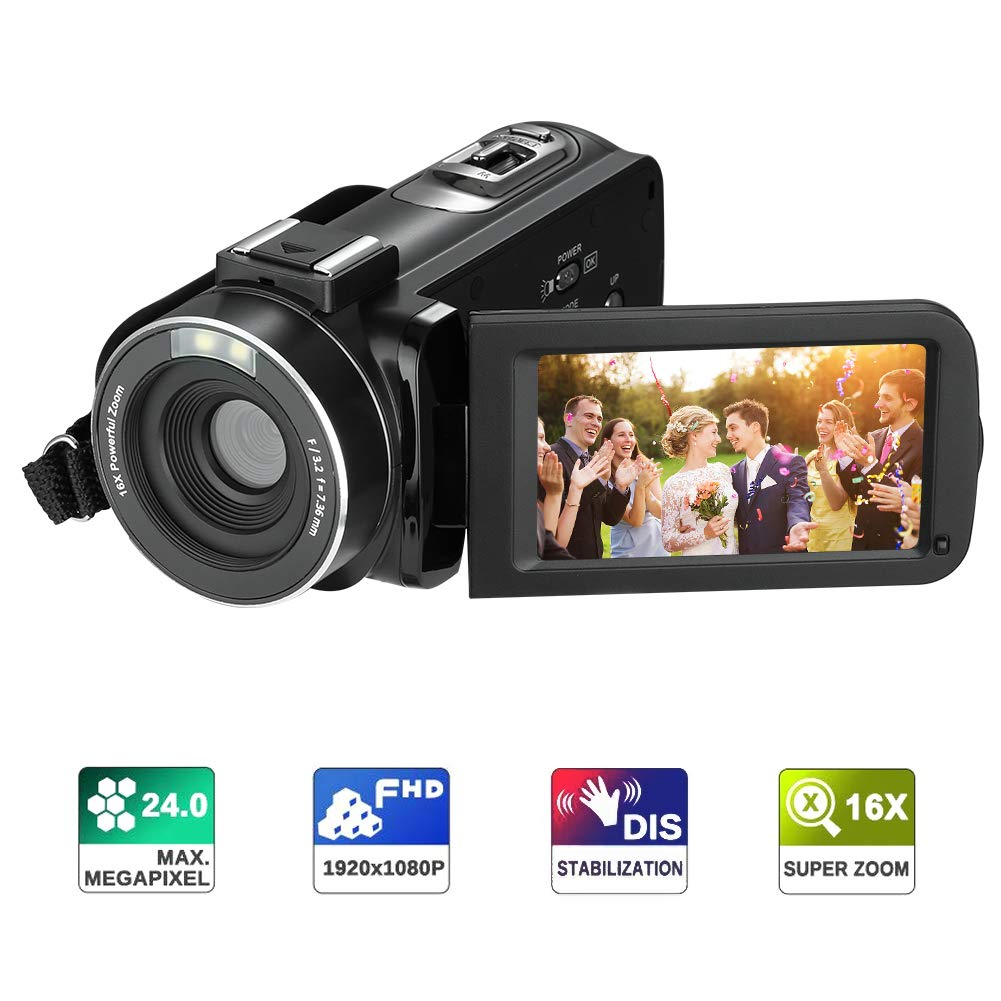 Video Camera Camcorder RegeMoudal HD 1080P Digital Camera 24.0MP 3.0 inch LCD 270 Degrees Rotatable Screen 16X Digital Zoom Camera Recorder with 2 Batteries
