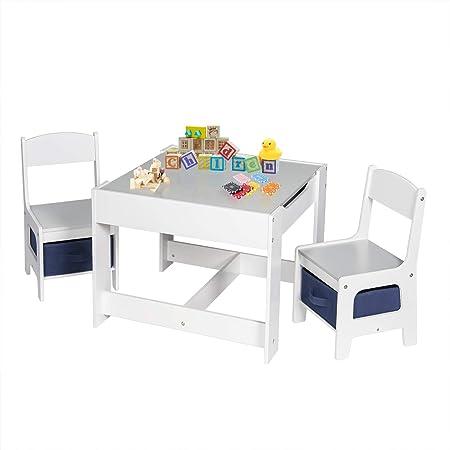 EUGAD Juego de Mesa y 2 Sillas Infantiles Grupo de Asientos para Niños Muebles de Madera y MDF para Niños con Espacio de Almacenamiento Gris + Blanco 0001ETZY: Amazon.es: Hogar