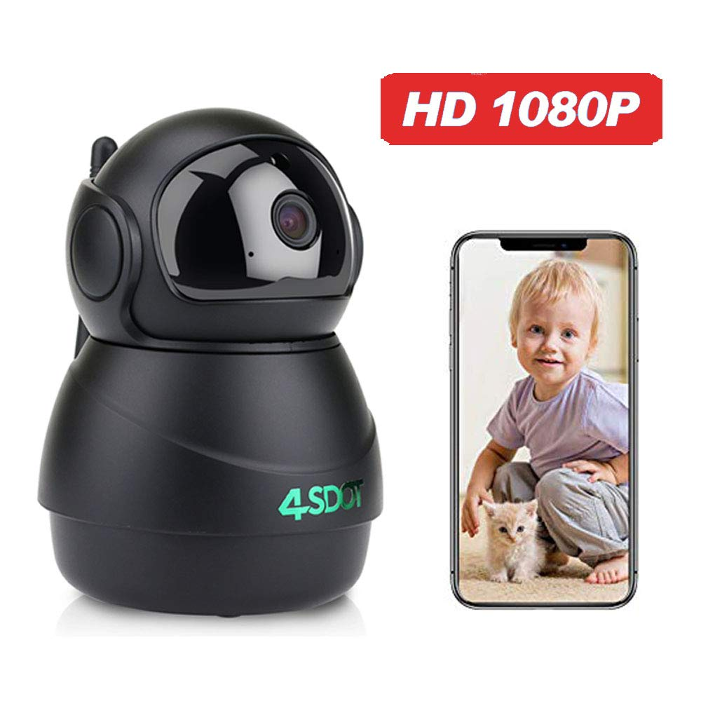 Wireless IP Camera 1080P,Nanny Cam,360 Degree Smart WiFi Camera 3D Navigation Panorama View Night Vision,Cloud Storage,Motion Detection,Two-Way Audio Pan/Tilt/Zoom for Baby/Pet/Elder,Support SD Card by 4SDOT