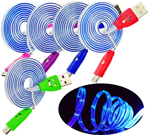 5PCS/Pack 3Ft 1 Meter Colorful LED Night Light UP Micro USB Charger Data Cable Cord for Galaxy S7 S6 Edge S4 S5 Note 2 4 5, Mega , HTC One M9, Nokia Lumia , Xperia (Green, Hot Pink, Blue, Red, Purple)
