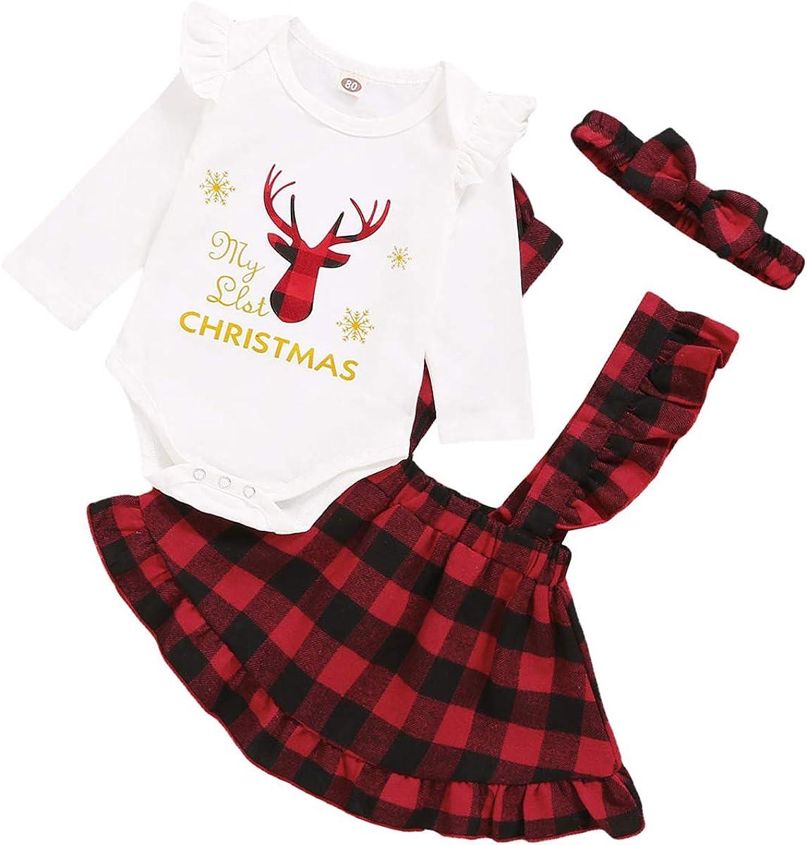 Fascia per 0-18 M Ragazze Borlai Set di Vestiti da Natale per Neonate 3 Pezzi Pagliaccetto con Volant Gonna Scozzese con Bretelle