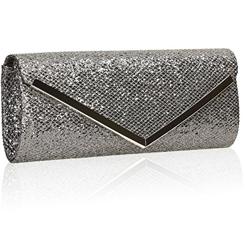Xardi London Glitter Funda Womens embrague novia boda Ladies sobre bolsas de noche Prom gris
