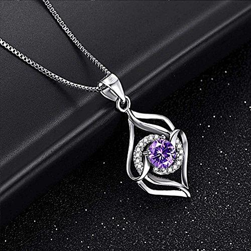 Joyfulshine Women 925 Sterling Silver Necklace Cubic Zirconia Crystal Love Pendant for Ladies Girls