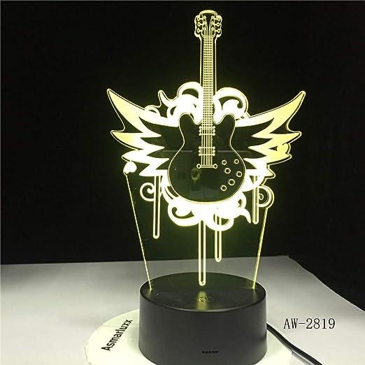 wanmeidp Música Guitarra Bajo 3D Luces LED Luces nocturnas para ...