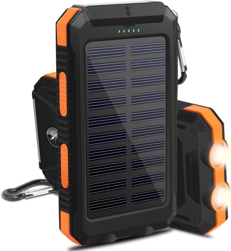 OKE 10000mAh Cargador Solar Impermeable 2 Leds, 2 Puertos USB, Batería Solar Externa Portátil para iPhone, iPad, Android Smartphone y Tablet etc. (Negro y Anaranjado): Amazon.es: Electrónica