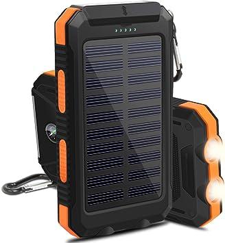 OKE 10000mAh Cargador Solar Impermeable 2 Leds, 2 Puertos USB ...