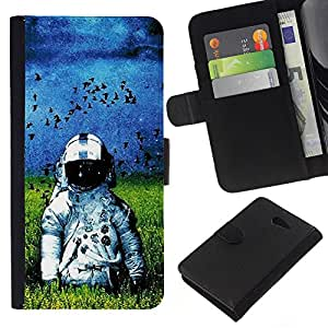 NEECELL GIFT forCITY // Billetera de cuero Caso Cubierta de protección Carcasa / Leather Wallet Case for Sony Xperia M2 // Oldschool Astronauta en el Campo