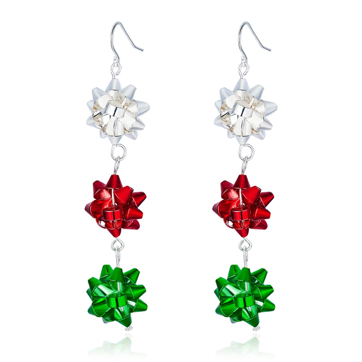 Christmas Bows Flower Piercing Dangle Earrings Red Green White Silver Plated Women Girls Holiday Gift RareLove ANELX05