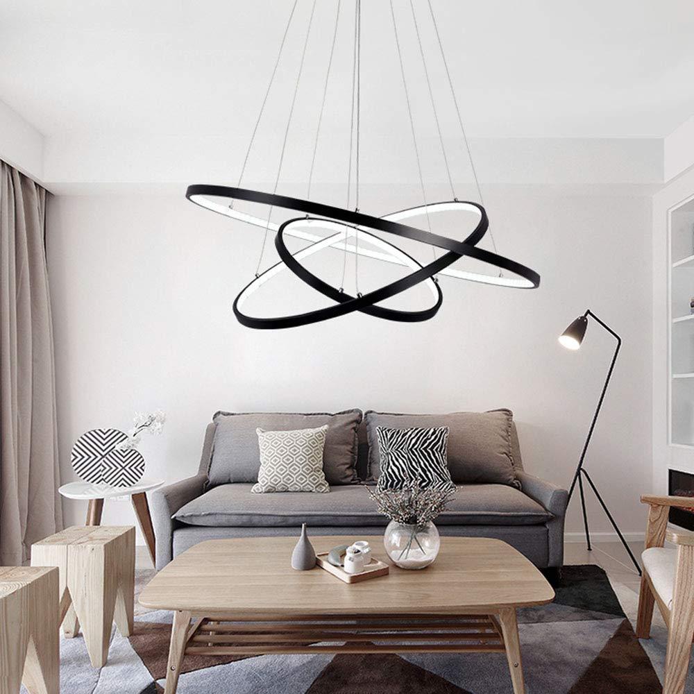 Hongou 25w Led Pendentif Lampe Noir Aluminium Rond Design Plafond