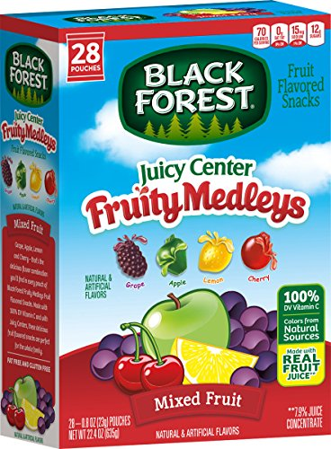 - Black Forest Black Forest Juicy Center Fruit Medley Fruit Snacks, 0.8 Ounce Bag, 28 Count