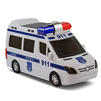 bump and go justice police car kids fun action toy with light and sirens