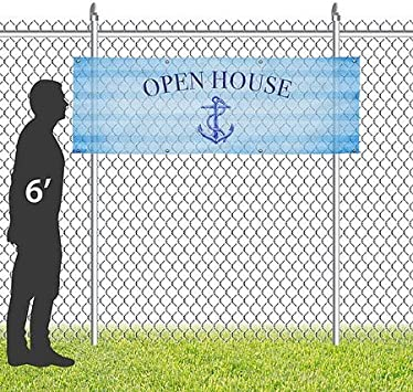 Nautical Stripes Wind-Resistant Outdoor Mesh Vinyl Banner Open House CGSignLab 12x4