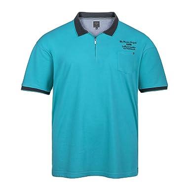 XXL Kitaro modisches Poloshirt azurblau meliert, XL Größe 3XL ... 8500bc3165