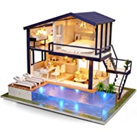 Fsolis DIY Dollhouse Miniature Kit with Furniture, 4D Wooden Miniature House with Dust Cover and Music Movement…