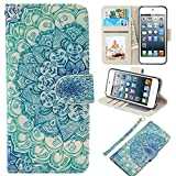iPod Touch Case, UrSpeedtekLive iPod Touch 5 Case, iPod Touch 6 Case, Premium PU Leather Wristlet Flip Case Cover with Card Slots & Stand for Apple iPod Touch 5 /6 , Mandala flower