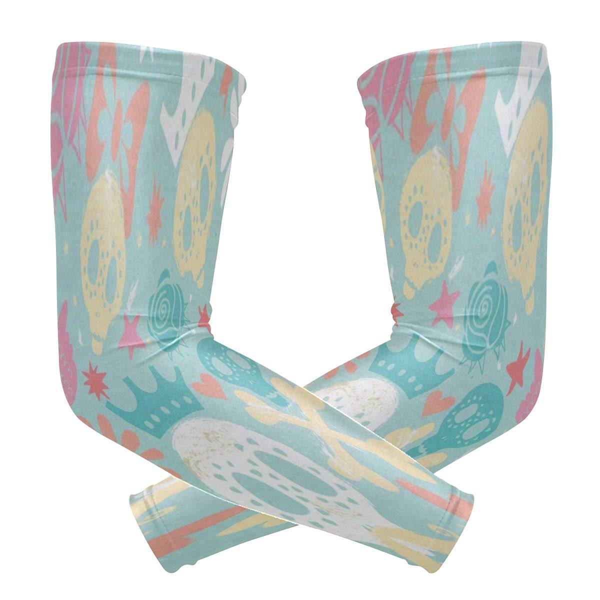Arm Sleeves Cute Cartoon Skull Butterfly Floral Man Baseball Long Cooling Sleeves Sun UV Compression Arm Covers