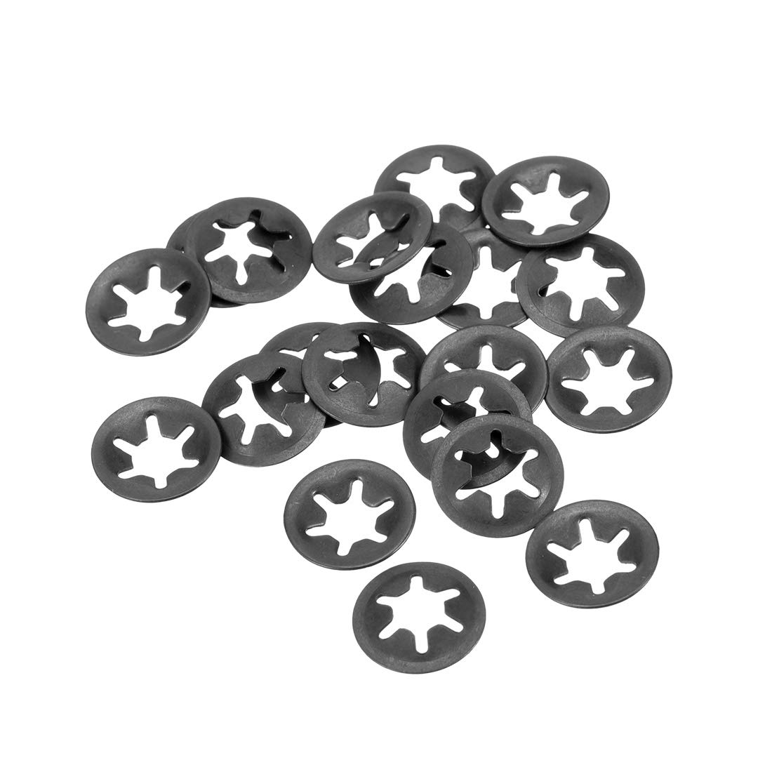 uxcell M5 Internal Tooth Starlock Washer 4.3mm I.D. 12mm O.D. Lock Washers Push On Locking Speed Clip 65Mn Black Oxide Finish Pack of 20
