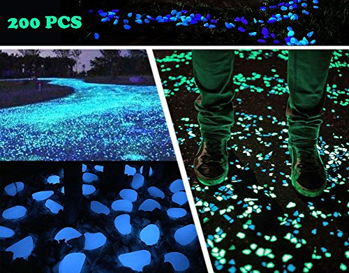 "[KLEMOO Glow in the Dark Pebbles 200 PCS, Artificial Decorative Stones Rocks for Walkways and Aquarium in Blue, Create Glowing ""Starry Night"" Garden] (Large Pebble)"