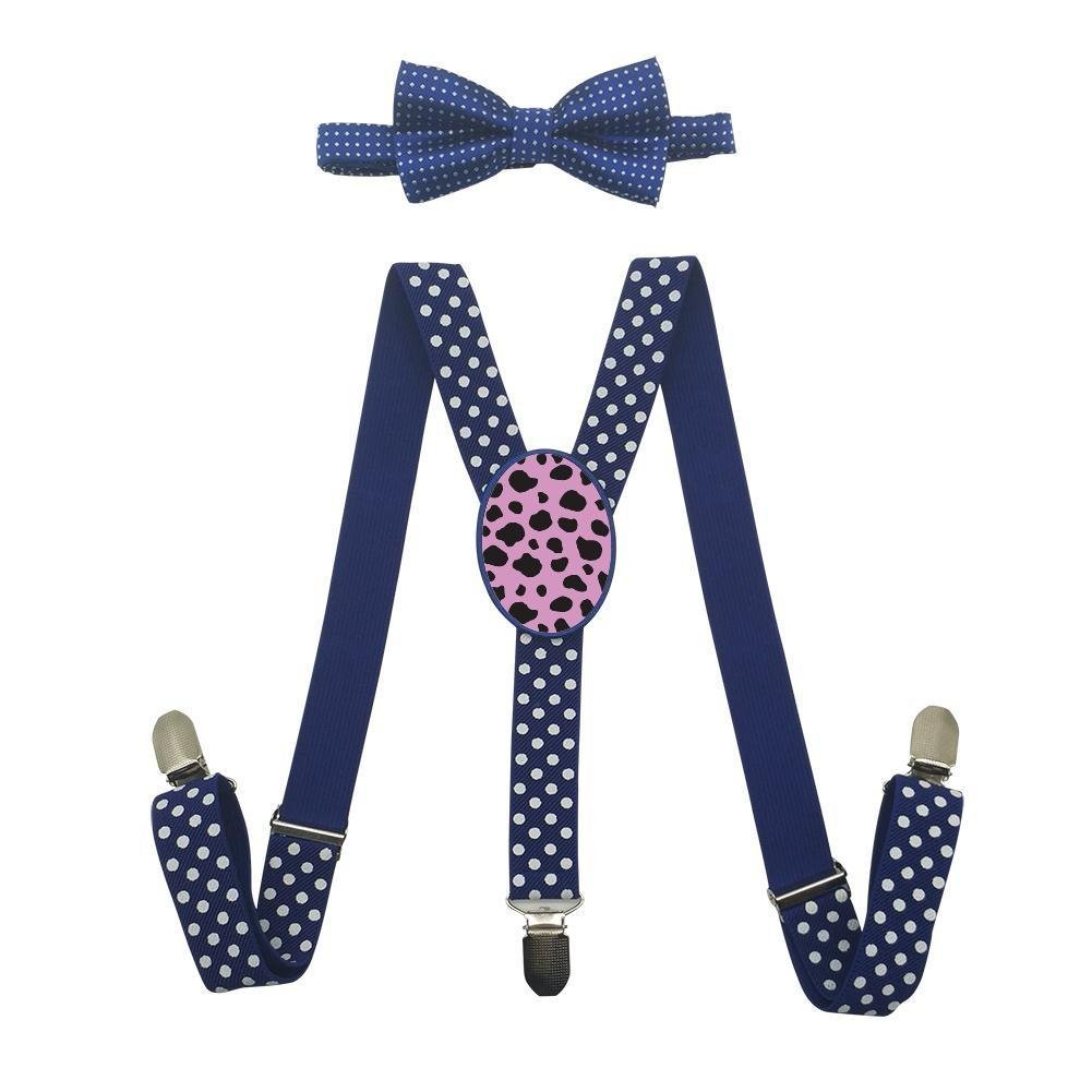 Qujki Cow Dot Print Suspenders Bowtie Set-Adjustable Length