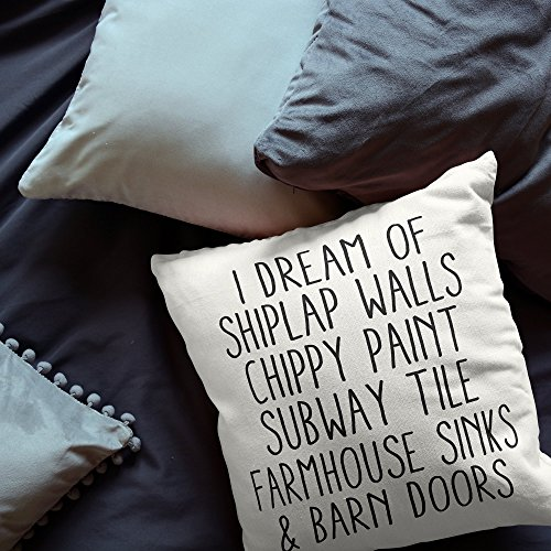 I Dream Of Shiplap Walls Throw Pillow Cover - home decor, cushion cover, throw pillowcase, seasonal pillowcase, housewarming gift, 16x16, gift for friends (Open Car Frozen Doors)