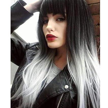 Peluca de color gris plateado, pelo largo y recto, peluca completa femenina con borla
