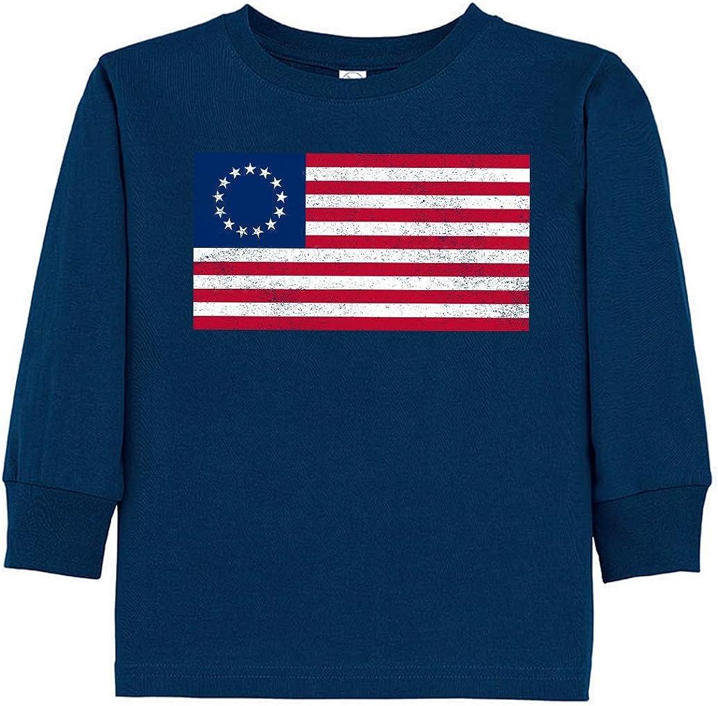 Tenacitee Toddlers Betsy Ross Flag Long Sleeve T-Shirt