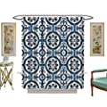 luvoluxhome Shower Curtains Sets Bathroom Gorgeous White Turkish Moroccan Portuguese Tiles Satin Fabric Bathroom Washable