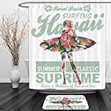 Vipsung Shower Curtain And Ground MatHawaiian Decorations Collection Tropical Hawaii Hibiscus Surfing Girl Silhouette Surfboard Retro Themed Artprint Coral GreenShower Curtain Set with Bath Mats Rugs