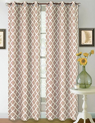 GorgeousHomeLinen K22 1 PC Two Tone Modern Geometric Pattern Design Insulated Blackout Window Curtain Drape Panel 35
