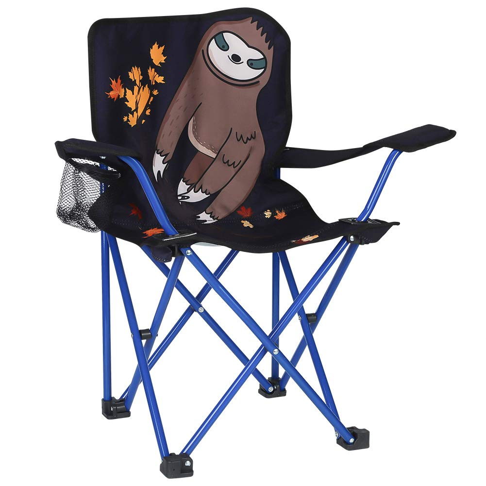 KABOER Kids Outdoor Folding Lawn and Camping Chair with Cup Holder, Sloth Camp Chair by KABOER
