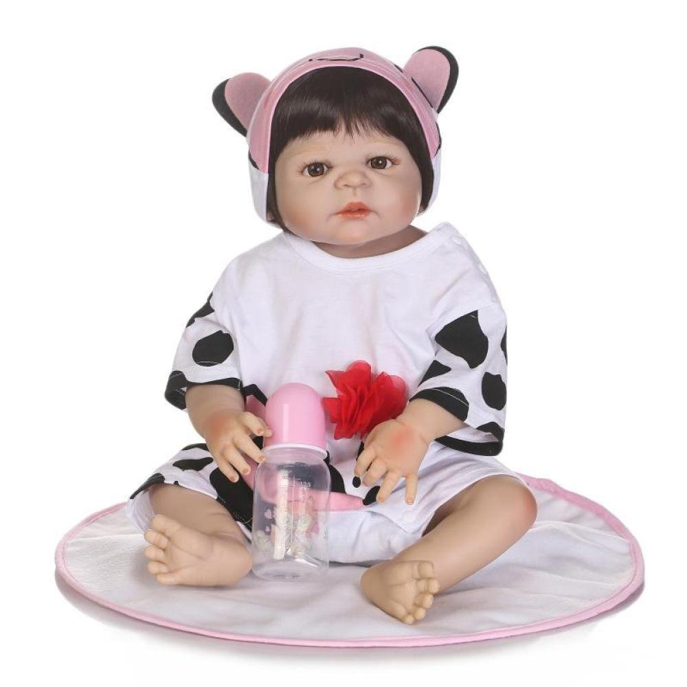 ZJX Simulationspuppe Wiedergeborenes Silikon-Nettes Baby Kann Das Wasserbegleiterspielzeugbaby-Persönlichkeits-Geburtstagsgeschenk 56CM Eintragen,C