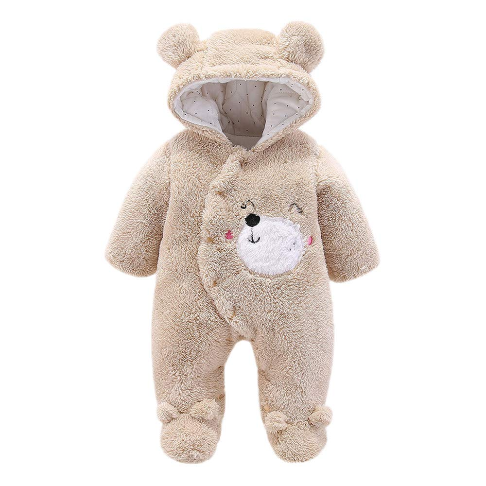 Unisex Newborn Infant Hooded Fluffy Fleece All in One Jumpsuit Romper Outfits ClothesAges 0-12m