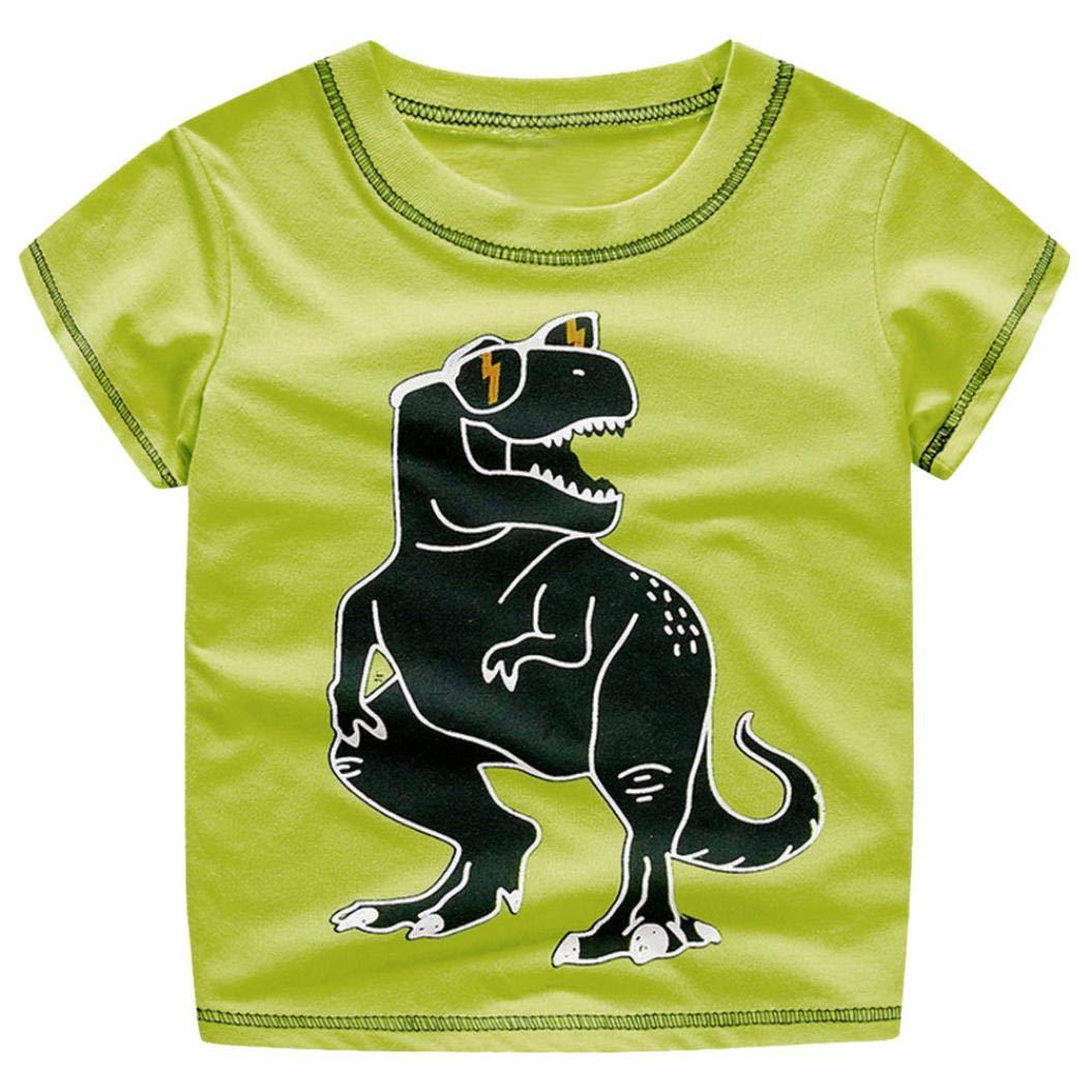 Clearance Sale Toddler Kids Baby Boys Clothes Cute Cartoon Short Sleeve Dinosaur Print T-Shirt Tops Blouse (Green, 4T)