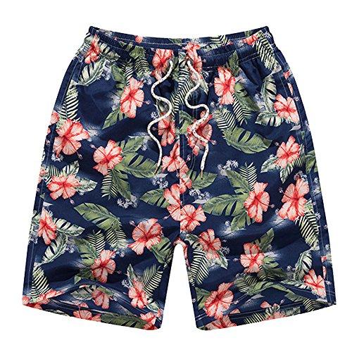 EVEDESIGN Men's Casual Quick Dry Swim Trunk Swimsuits Square Leg Beachwear (Boardshort Blue Clothing)