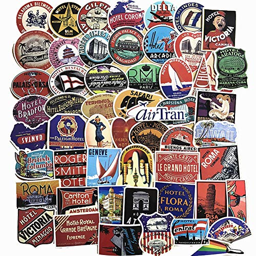 (55-Pcs PVC Decals Vintage Travel & Hotel Vinyl Computer Luggage Stickers for Cars Motorbikes Skateboard Laptops)
