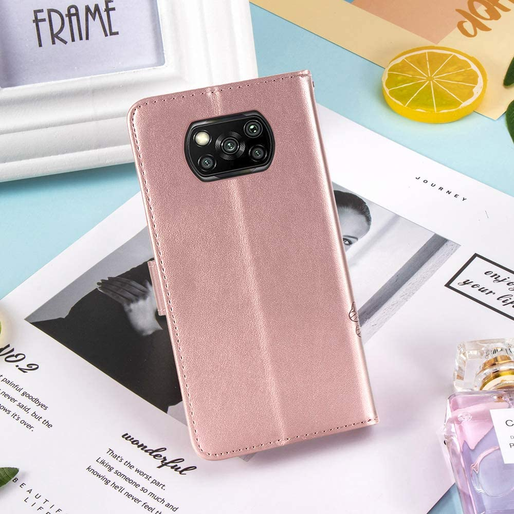 Rose gold Pocophone X3 NFC Four Clover Embossed Premium PU Leather Flip Wallet Cover with Bracket Stand//Card Slot Features JIAFEI Case Compatible for Xiaomi Poco X3 NFC