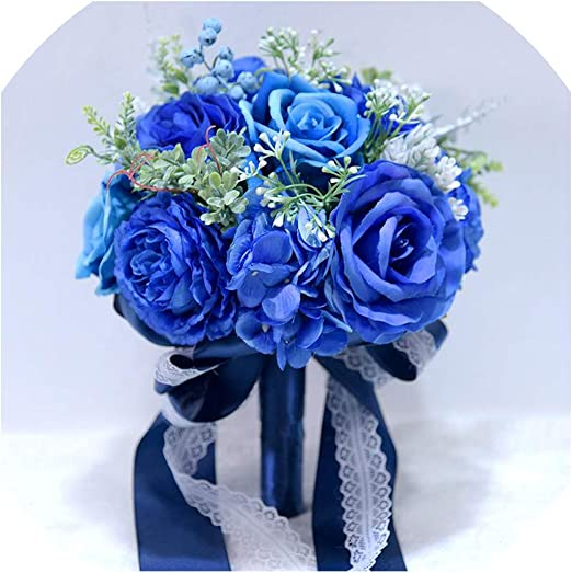 Amazon Com Blue Flowers Bouquet Wedding Bouquet White Wedding