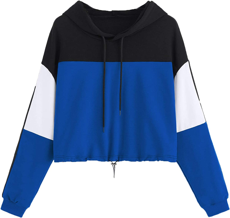 Women Color Block Splice Pullover Vintage Long Sleeve Sweatshirt Crop Top Blouse L, B-Blue