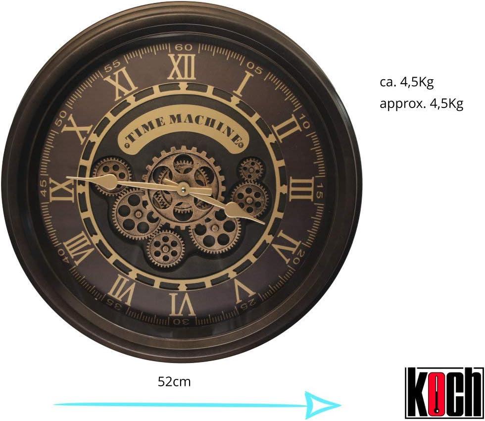 Koch Wanduhr Time Machine 52 cm Farbe: Kupfer//Messing Metall