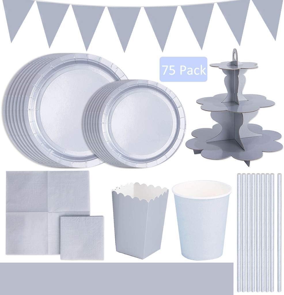DreamJing Vaisselle en Carton Gris Jetable 75pcs Servir 12 Invit/és Assiette Serviette Nappe Bo/îte de Bonbons Stand de G/âteau pour F/ête Mariage Anniversaire