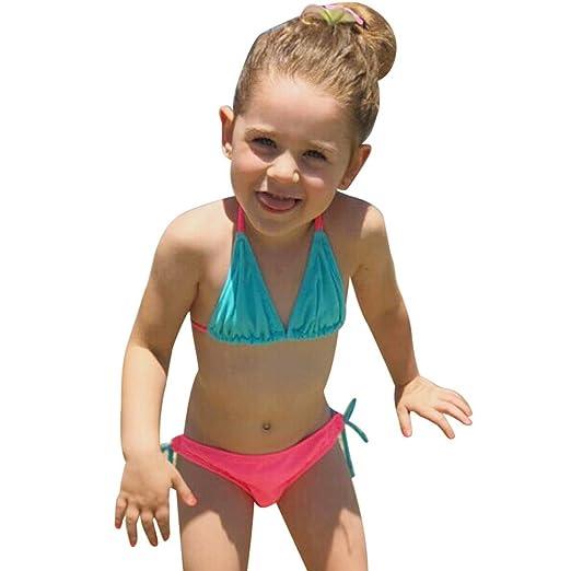 6dfcfa54fe46 Amazon.com  KONFA Toddler Baby Girls Bikini Swimwear Halter+Shorts ...