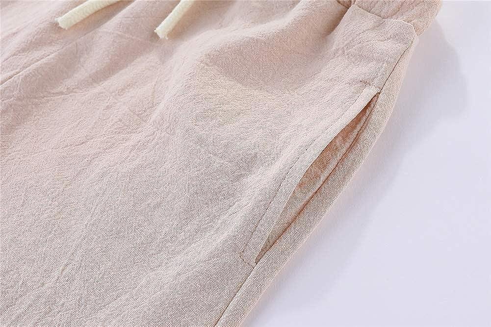 ZL4CH Little Boys 7-8 Years Cotton Linen Shorts Khaki//Navy 2-Pack