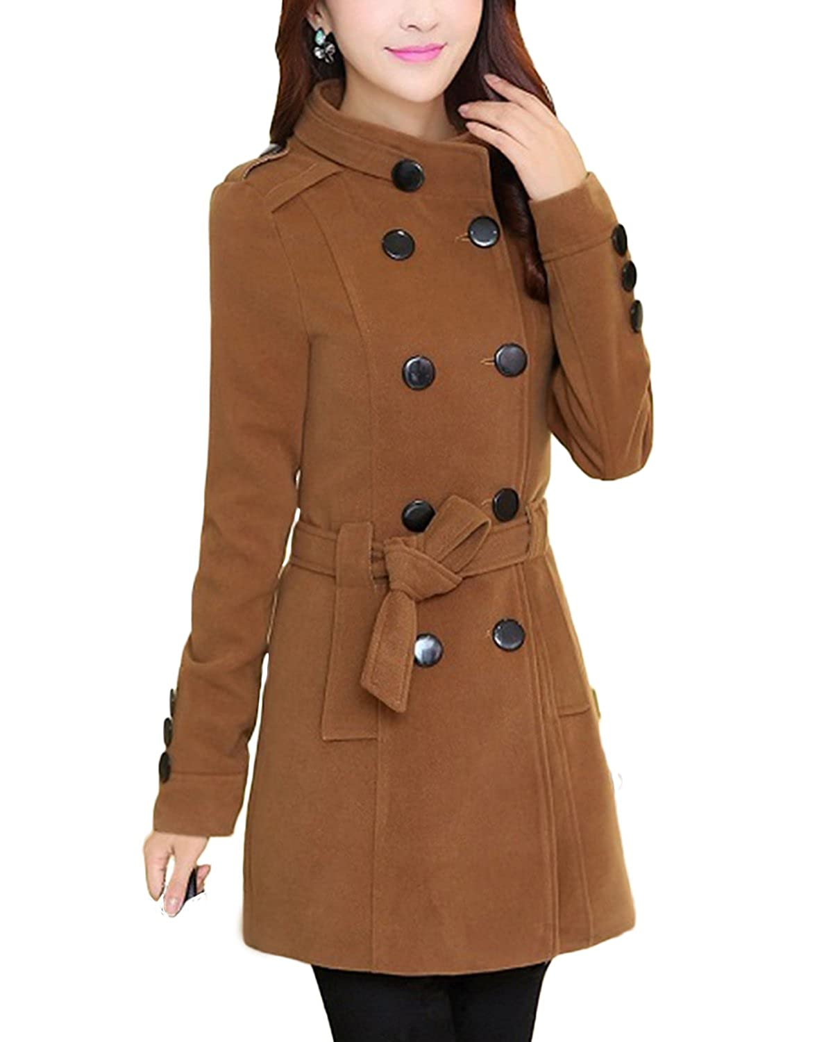 xiaoming Women Winter Double Breasted Thicken Wool Trench Coat with Belt