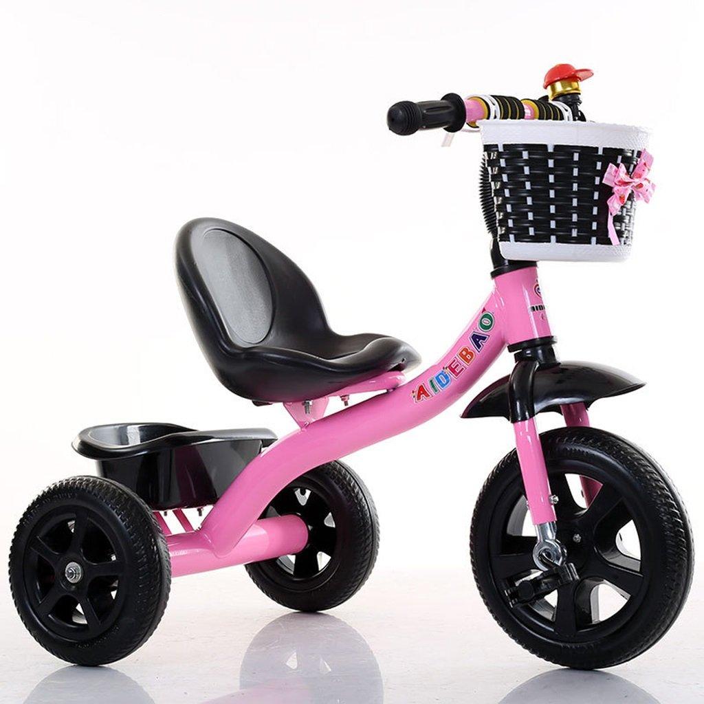 子供の三輪車の赤ちゃんの自転車の赤ちゃんのキャリッジ高炭素の自転車の自転車2-8歳の赤ちゃんの三輪車の足、ピンク/赤/緑/青、72 * 50 * 68センチメートル (Color : Pink) B07CTBJHBB