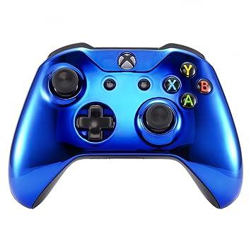 eXtremeRate Funda Delantera Carcasa Protectora de la Placa Frontal Cubierta Antideslizante para el Mando del Xbox One S y Xbox One X (Model 1708) Azul ...
