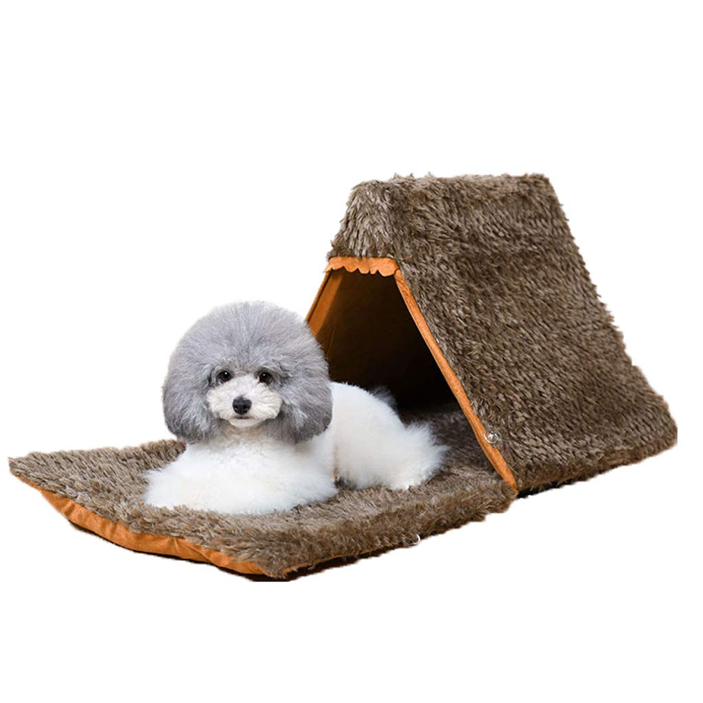 BROWN BEIBEI Kennel, Puppies Tent Cat Litter, Cat Dog House, Four Seasons Universal, Yurt, Pet Nest, Cat House, Pet Bed, (brown) (color   BROWN)